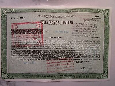Original Rolls-Royce, Limited 100-Share Stock Certificate from 1971