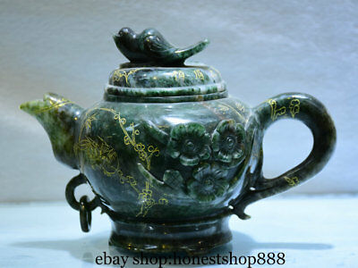 "6"" China Natural Dushan Green Jade Carved Flower Bird Handle Wine Tea Pot Flagon"