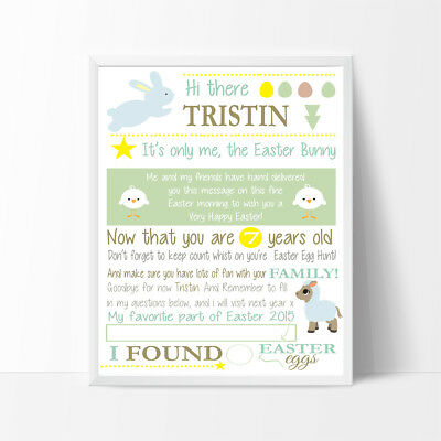 Personalised Letter from Easter bunny,  3 colour choices