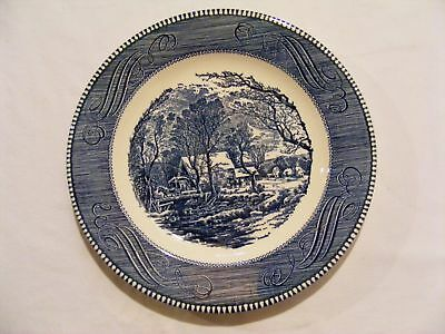 Vintage Currier and Ives 10 Inch Blue White Dinner Plate The Old Grist Mill & VINTAGE CURRIER and Ives 10 Inch Blue White Dinner Plate The Old ...