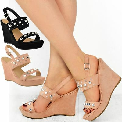 Womens Ladies High Heel Wedge Summer Sandals Comfy Ankle Strap Open Toe New Size