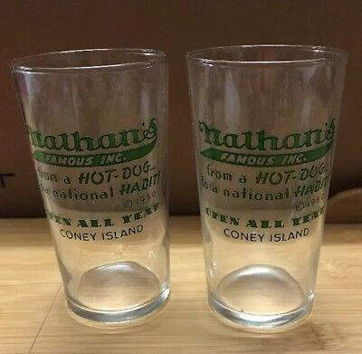 """2 VINTAGE NATHAN'S DRINK GLASSES, Each 4 1/2"""" Tall"""
