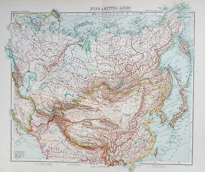 Map of Northern Asia, Russia & Mongolia 1909 SIBERIA Stieler. Perthes. Antique