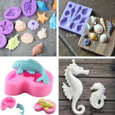 2018 3D Beach Sea Shells Silicone Fondant Mould Cake Sugarcraft Fondant Mould
