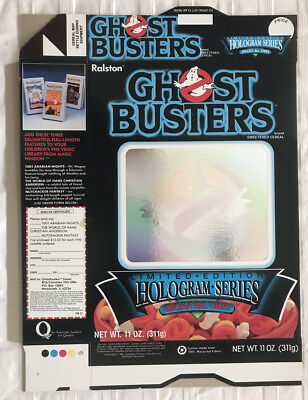 Old Vintage 1986 1980's Ralston Ghostbusters Hologram Mint Cereal Box Flat VHS