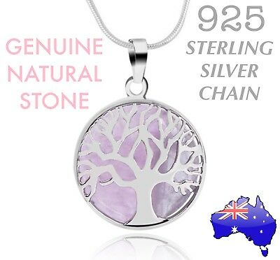 Natural Stone Pink Rose Quartz Tree of Life Pendant 925 Sterling Silver Necklace