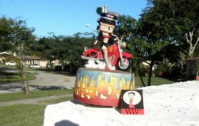 """Betty Boop 2004 Riding Motorcycle Music Box/Plays (""""Wipeout"""") By The Safari's"""