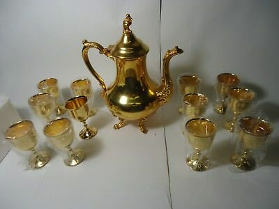Vintage 24K GOLD plated OLD ENGLISH REPRODUCTION  LEAD MOUNTS Teapot &  Goblets
