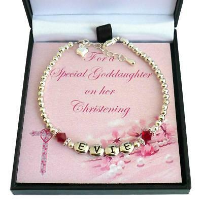 Personalised Birthstone Bracelet for Christening, Any Girls Name. Gift Boxed
