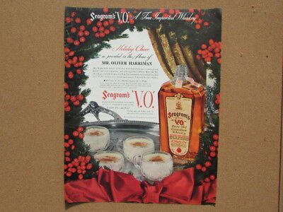 ORIGINAL 1936 SEAGRAM'S Distillery VO Whiskey Holiday Magazine Print Ad Egg Nog