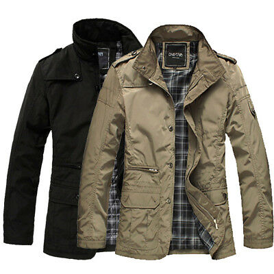 New spring Mens Jacket Overcoat Coat Warm Casual Outwear Military Black Fashion