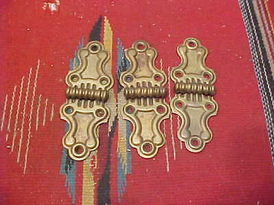 VINTAGE ANTIQUE BUTTERFLY HINGES SOLID BRASS w STEEL PIN TRUNK CHEST CABINET
