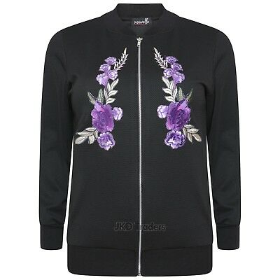 1e5f097ca LADIES WOMENS FLOWER Embroidered Bomber Jacket Plus Size 14 16 18 20 22 24  26 28