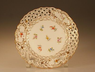 "Richard Klemm ""Dresden"" Reticulated Bread and Butter Plate E on Meissen Blank"