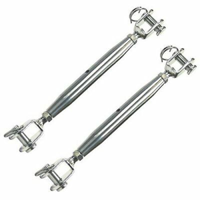 2 Heavy Duty Marine Grade 316 Stainless Steel Jaw/Jaw Closed Body Turnbuckle M8