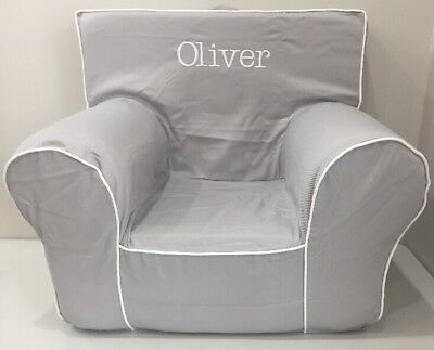 NEW Pottery Barn Kids Gray w/White Piping ANYWHERE CHAIR w/Cover Mono *Oliver