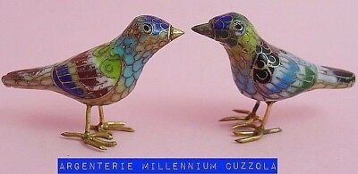 Birds Cloisonne Bird Little Birds Oiseaux Authentic Cloisonne Vintage