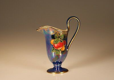 Crown Devon Fieldings Blue Lustre with Hand Painted Fruits Ewer/Creamer, England