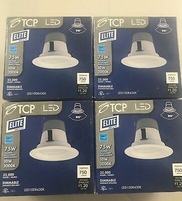 TCP LED Elite LED10DR430K 10W 75W Replacement 3000K Dimmable lot of 4