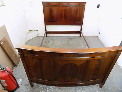 antique,edwardian,mahogany,curved,bow end,double bed,inlaid,bed frame,bed,