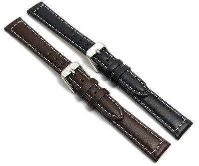 Ladies Smooth Contrast Stitched Padded Leather Watch Band 12mm 14mm c030