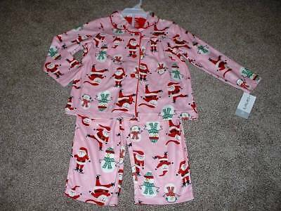 Carters Girls 3T Pink Flannel Santa Christmas Pajamas Set Size 3 Toddler NWT NEW