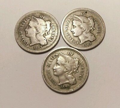 3 United States 3 Cent Nickels 1865-1870 With Sheared Planchet Error !!