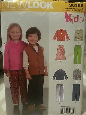 New Look Kids by Simplicity S0389 Sewing Pattern For Jacket Vest Dress Pants