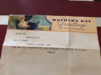 Mothers Day Postal Telegraph 1930's