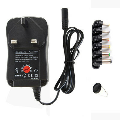 3-12V 30W 2.1A Universal Adjustable Switch Power Supply Charger Adapter With USB