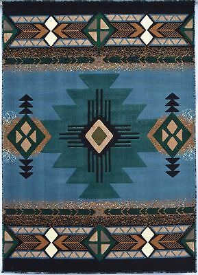 Southwest Native American Indian Area Rug Shades of Blue+Brown (5.2 Ft X 7.2 Ft)
