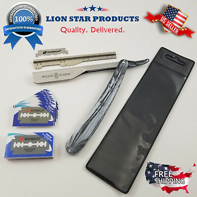 Barber Salon Straight Cut Throat Shaving Razor Shavette Rasoirs Rasoi + Blades