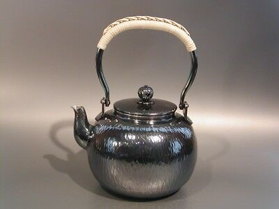 Japanese Antique KANJI old silver bottle Tea Kettle teapot Chagama 013