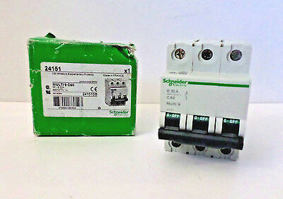 Schneider 24151 C60 Mini Supplementary Protector 3-Pole 480Y/277 VAC ~DMG BOX**