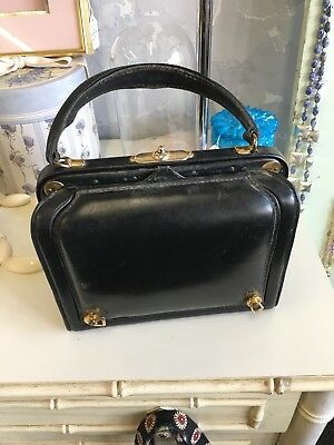 Vintage Lederer Handbag Black Leather Red Leather Secret Compartment Needs Work.