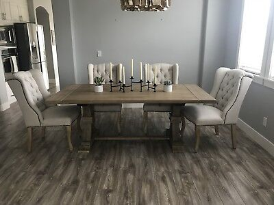 Fantastic Z Gallerie 4 Linen Tufted Dinning Chairs And Archer Bench Machost Co Dining Chair Design Ideas Machostcouk