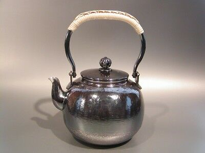 Japanese Antique KANJI old silver bottle Tea Kettle teapot Chagama 019