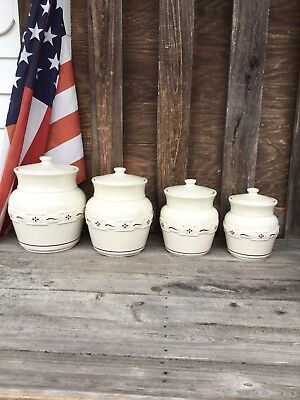 Longaberger Woven Traditions Red /Ivory 8 Pc Canister Set