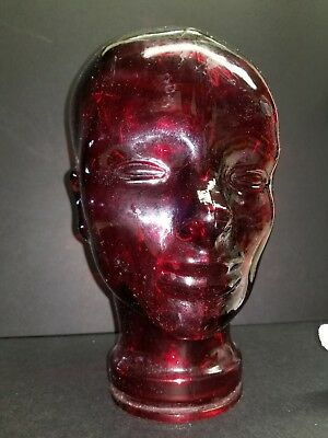 Vintage Red Glass Mannequin Head Art Deco Made in Spain