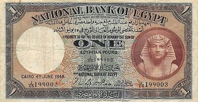 Egyptr 1 Pound 1948 P.22d National bank Sphinx Fine, Circulated