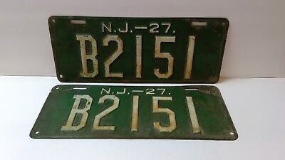 RARE Authentic PAIR 1927 NEW JERSEY NJ License Plates B Antique Car Man Cave : antique plates nj - pezcame.com
