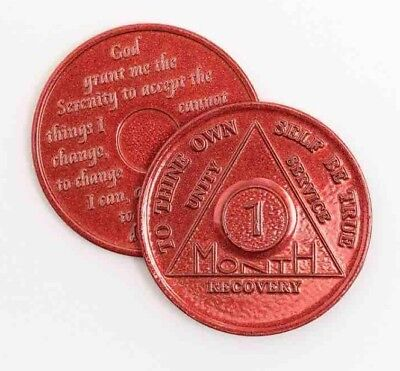 AA 1/ONE Month RECOVERY CHIP TOKEN Alcoholics Anonymous Sobriety SOBER COIN UK