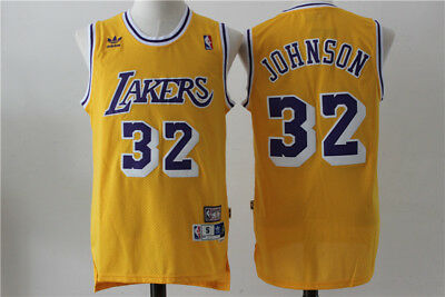 New Los Angeles Lakers #32 Earvin Johnson Retro Basketball Jersey Yellow