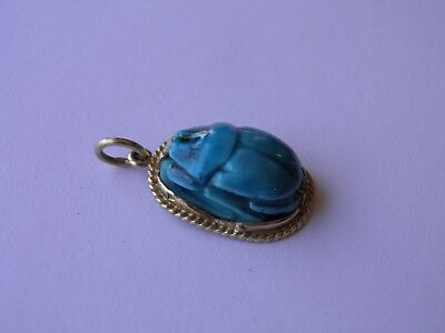 Antique Egyptian Revival Faience Scarab Pendant 14K Gold