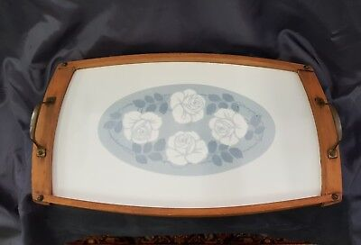 Antique art deco earthenware  serving tray, nice.( decor with roses).