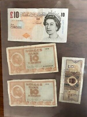 Bank of England 10 Pound - Yi Jiao Bill - Norway 10 Kroner - banknotes lot