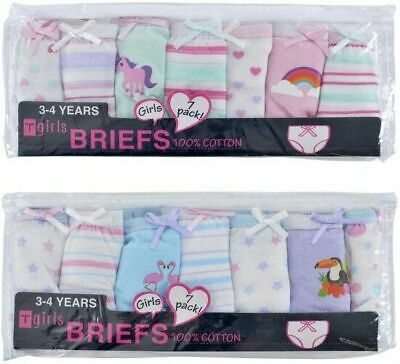 Girls 7 Pack of 100% Cotton briefs pants knickers age 2 3 4 5 6 7 8 Bright New