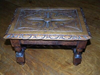 """Antique Solid Oak Jacobean Foot Stool 11-1/2"""" x 8"""" x 7-1/2"""" with Carved top"""