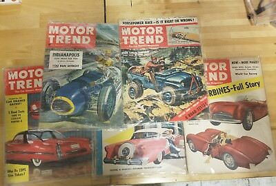 Lot of 5 vintage 1950's motor trend magazines