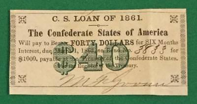 1861 $40 US Confederate States of America! Choice VF! Old US! Genuine!